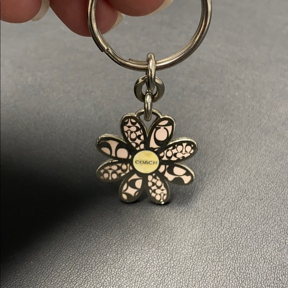 Coach silver & pink flower key chain pendant